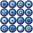 Sixteen Cog Buttons — Stock Vector