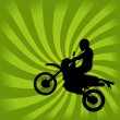 Jumping Dirt Bike Silhouette - Stock Vector