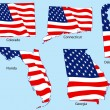 Royalty-Free Stock Imagen vectorial: Five States with Flags