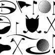 Stock Vector: Black and White Golf Icons