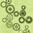 Grunge cogs or gears on a green background — Stock Vector