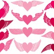 Royalty-Free Stock Векторное изображение: Hearts with Wings