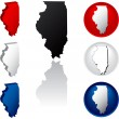 State of Illinois Icons — Stok Vektör