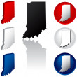 State of Indiana Icons — Stock Vector