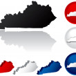 State of Kentucky Icons — ストックベクター #8996244