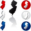 State of New Jersey Icons — Stock Vector