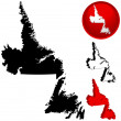 Detailed Map of Newfoundland, Canada — Stock Vector
