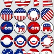 Various Political Buttons and Icons — Stock Vector