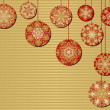 Snowflake Christmas Ornaments on a Red and Gold Background — Stock Vector