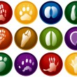 Stock Vector: Animal tracks buttons