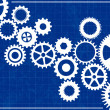 Blueprint Background with cogs — Stock Vector