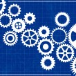 Stock Vector: Blueprint Background with cogs