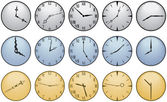 Fifteen Different Clock Faces — Stock Vector