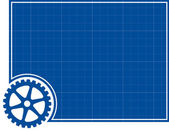 Cog and Blueprint Background — Stock Vector