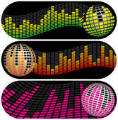 Three Disco Music Banners — Stock Vector