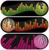 Three Disco Music Banners — Stock Vector