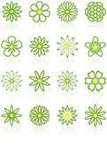 Sixteen Flower Icons — Stock Vector