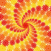 Red Orange and Yellow Flower Swirl Background — Stock Vector