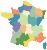 Map of France divided into regions — Stock Vector
