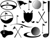 Iconos de golf blanco y negro — Vector de stock