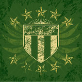 Green Grunge Shield — Stok Vektör