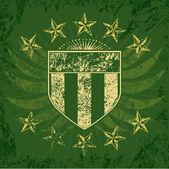 Green Grunge Shield — Stock Vector