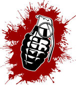 Grenade with splattered blood — Stock Vector