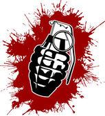 Grenade with splattered blood — Stock Vector