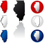 Illinois eyaleti'nde simgeler — Stok Vektör