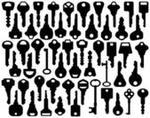Assorted Key Silhouettes — Stock Vector