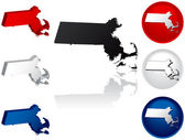 State of Massachusetts Icons — Stock Vector