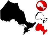 安大略省,加拿大的详细的地图, — 图库矢量图片