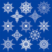 Verschiedenen kunstvollen schneeflocken — Stockvektor