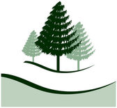 Three Pine Trees — Stock Vector