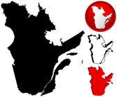 Mapa detallado de quebec, canadá — Vector de stock