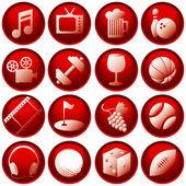 Recreation Icon Buttons — Stock Vector