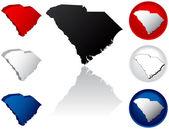 Iconos de estado de carolina del sur — Vector de stock