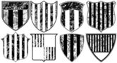 Ocho escudos grunge a rayas — Vector de stock