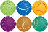 шесть swirly шарики — Cтоковый вектор