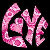 Symbole d'amour teint rose cravate — Vecteur