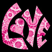 粉色领带染的爱标志 — 图库矢量图片