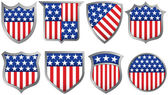 Eight Red White and Blue Shields — Stock Vector