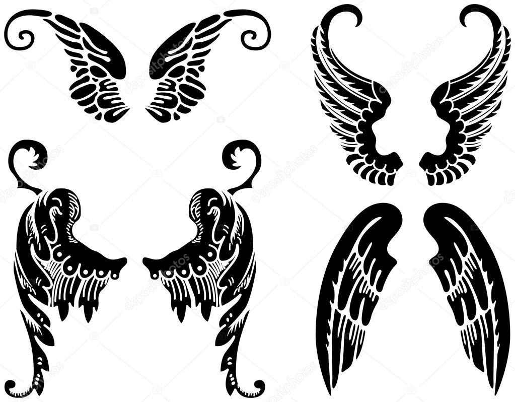 Black Angel Wings Silhouette Images & Pictures - Becuo