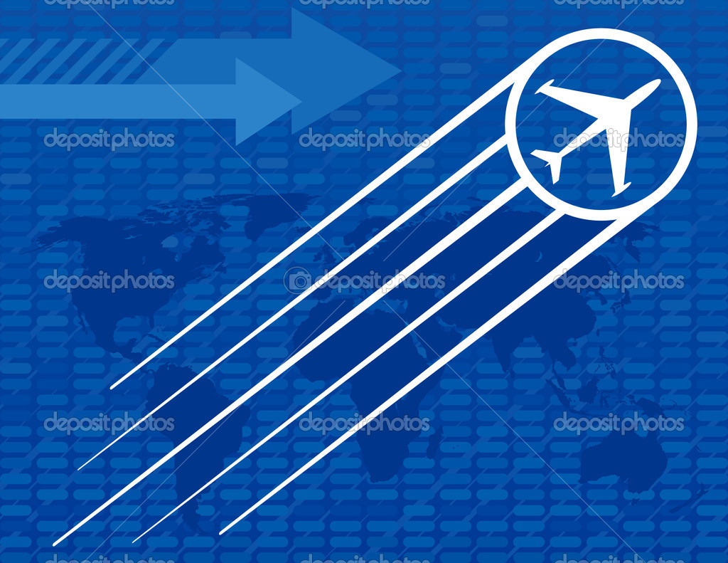 Blue Airplane Travel Background with arrows and a world map — Stock Vector #8995682