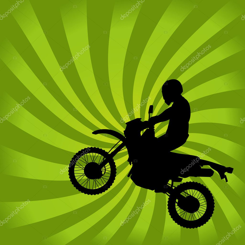 Jumping Dirt Bike Silhouette on a Green Swirl Background — Stock Vector #8995890