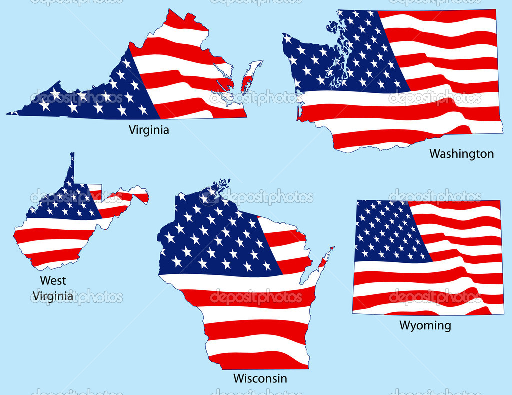 Virginia, Washington, West Virginia, Wisconsin, Wyoming outlines with flags, each individually grouped — Stock Vector #8995953