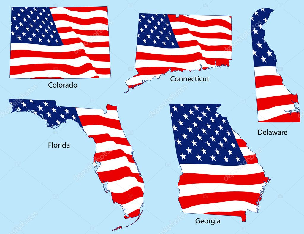 Connecticut, Colorado, Delaware, Florida and Georgia outlines with flags, each individually grouped — Stock Vector #8995955