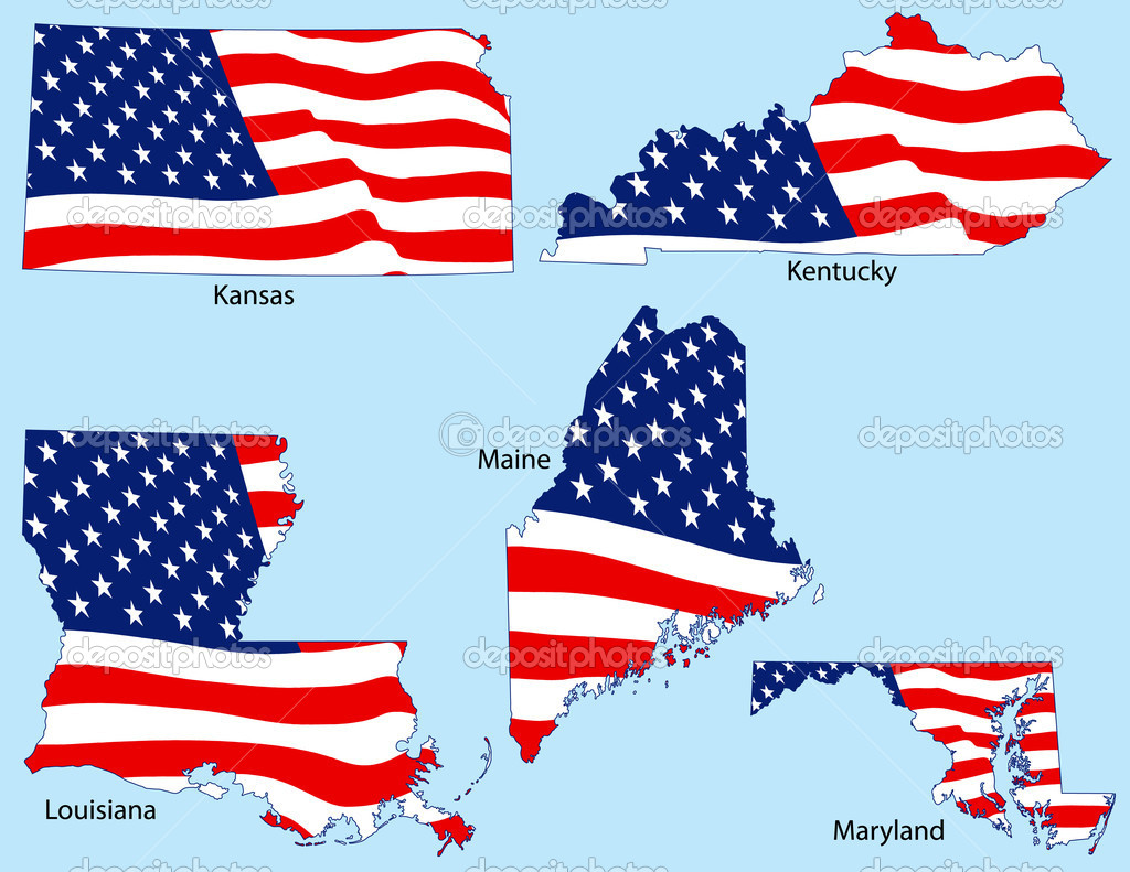 Kansas, Kentucky, Louisiana, Maine and Maryland outlines with flags, each individually grouped — Stock Vector #8995961