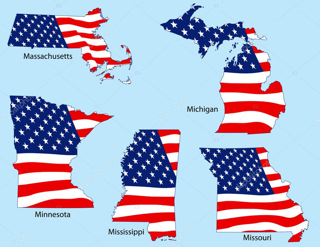 Massachusetts, Michigan, Minnesota, Mississippi and Missouri outlines with flags, each individually grouped  Stock Vector #8995963