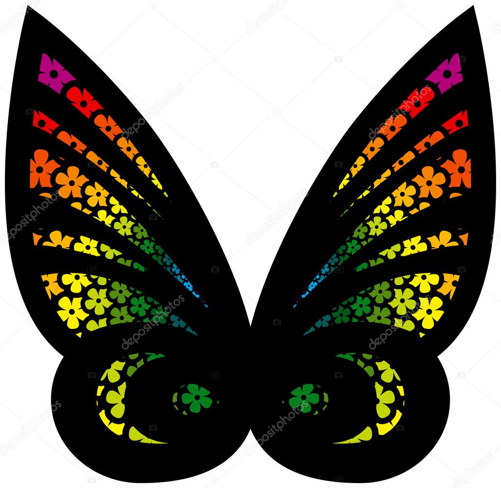 Colorful Stylized Butterfly filled with flowers  Stock Vector #8996008